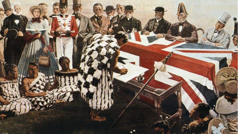 Signing Treaty of Waitangi